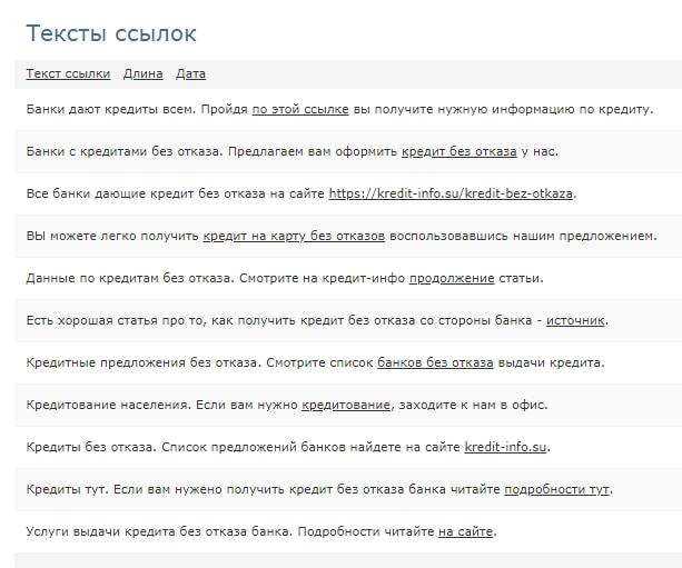 пример анкор листа сайта
