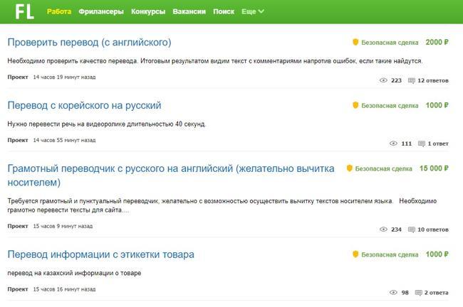 Поиск заказов на перевод на фриланс бирже fl.ru