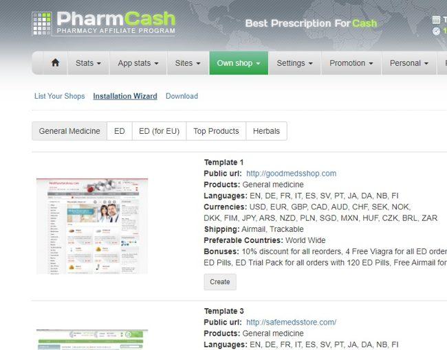 Выбор шаблона онлайн-аптеки в PharmCash