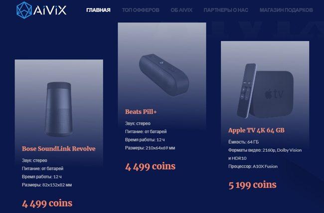 Бонусы в Aivix.com