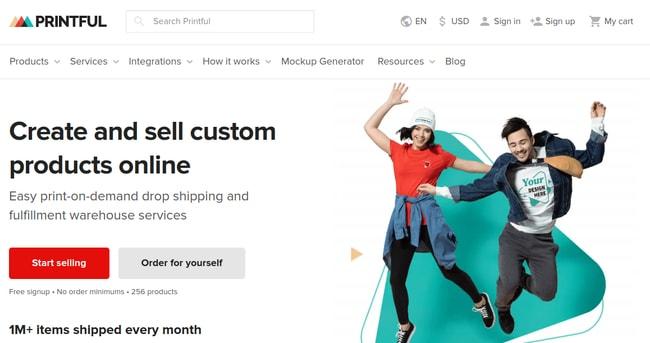Сайт компании Printful